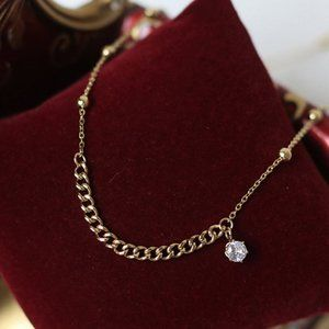 18K Gold Plated Diamond Drop Link Chain Necklace